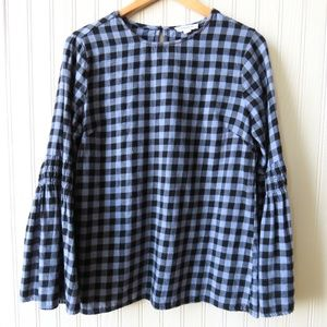 BeachLunchLounge Gingham Plaid Bell Sleeve Flannel